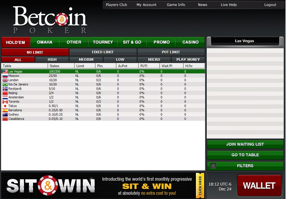 Betcoin Poker Lobby Screen shot