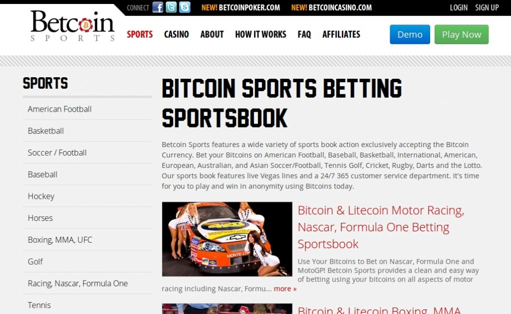 Betcoin Sports Betting Home Page screen-shot