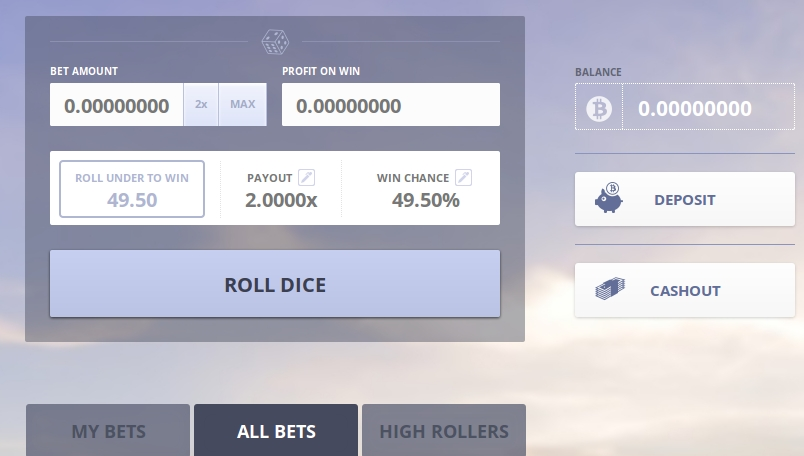 Prime Dice screenshot of the gambling interface