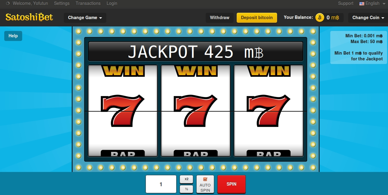 SatoshiBet Slot Machine screenshot