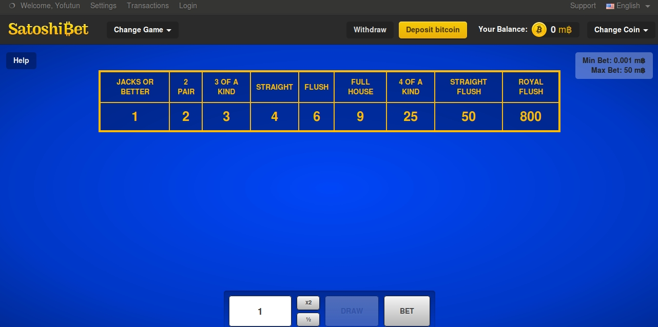 SatoshiBet Video Poker screen-shot