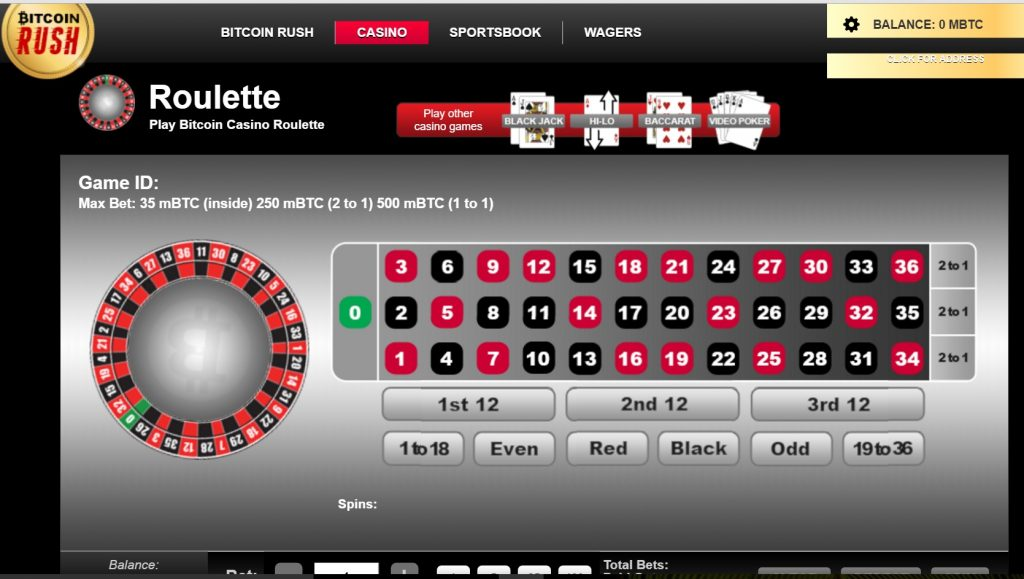 Bitcoin Rush in game screen shot of Roulette