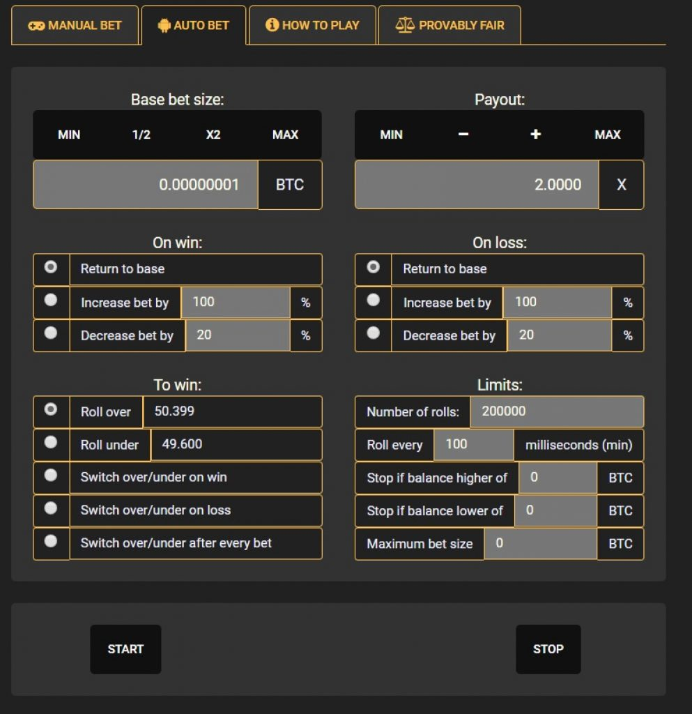 Crypto-Games Dice control panel screen shot