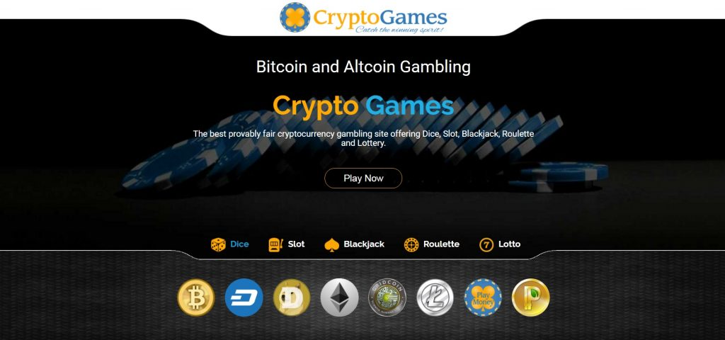 Crypto-Games Home Page picture with digital currency icons