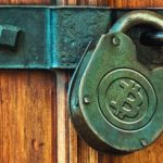 Lock with a bitcoin symbol