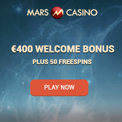 Mars Casino banner with welcome bonus details