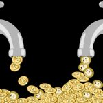 Picture of two taps with Bitcoins and Dogecoins coming out