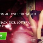 Live Bitcoin Casino Dealer girl lying on a table