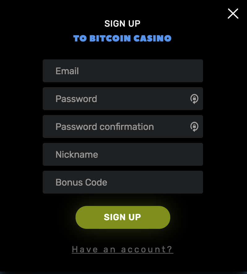 Sign up sheet for Bitcoin casino.us