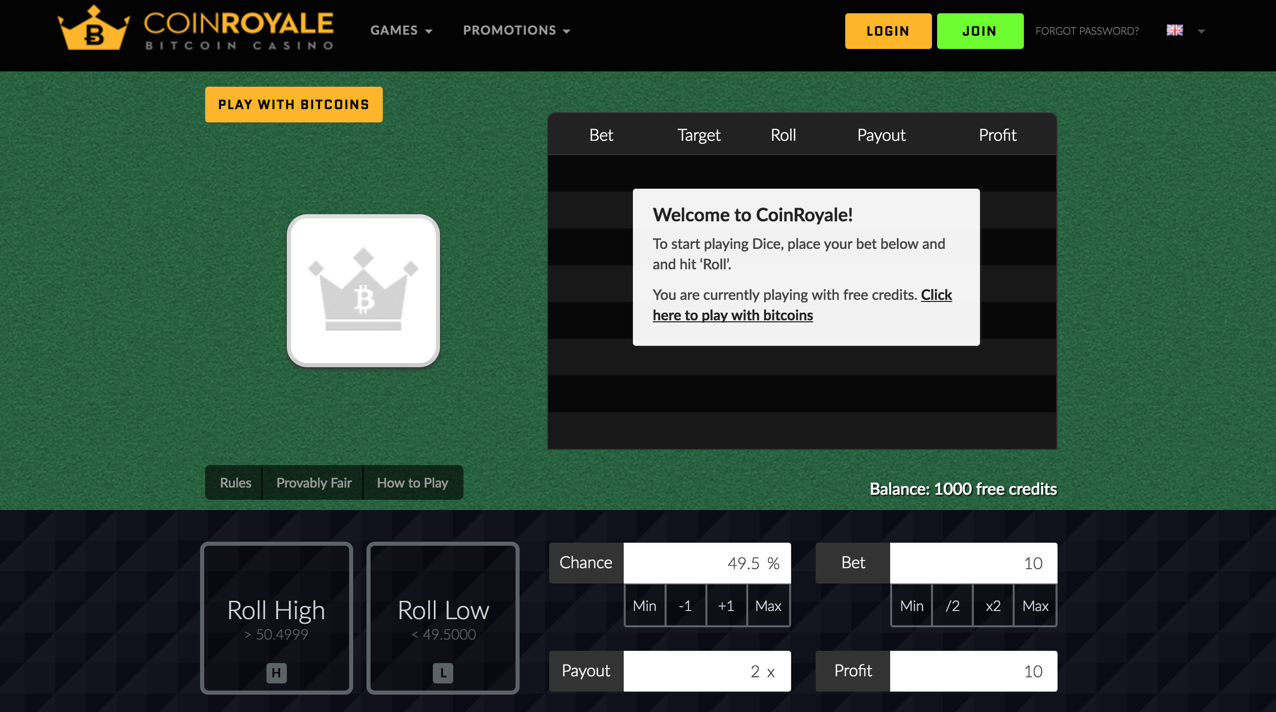 Coin Royale Dice interface