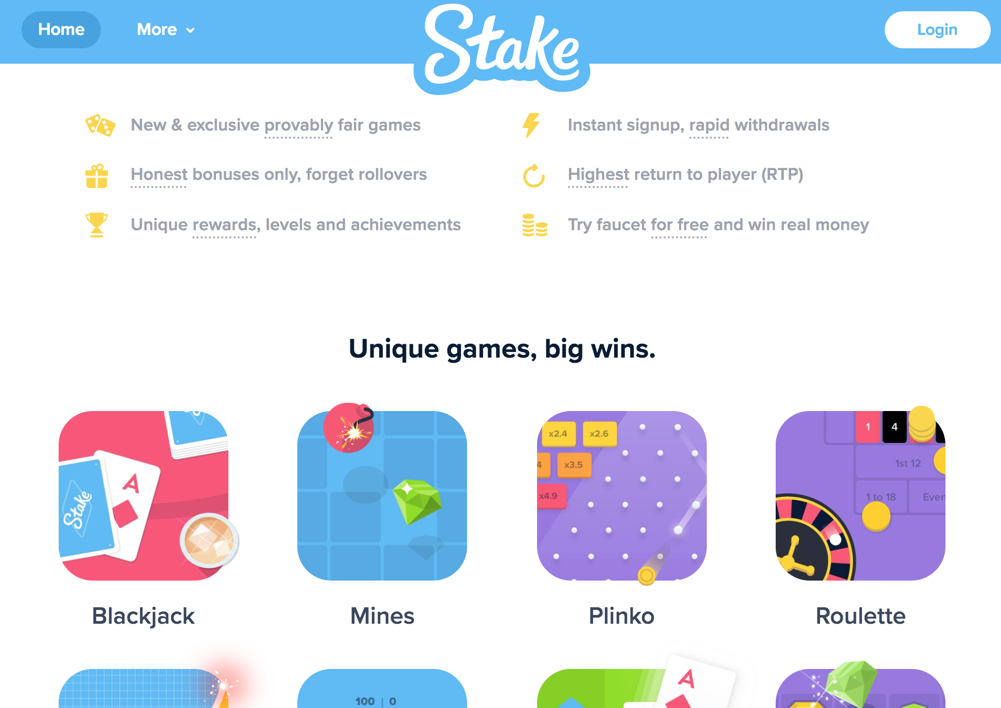 Stake home page and games to choose from