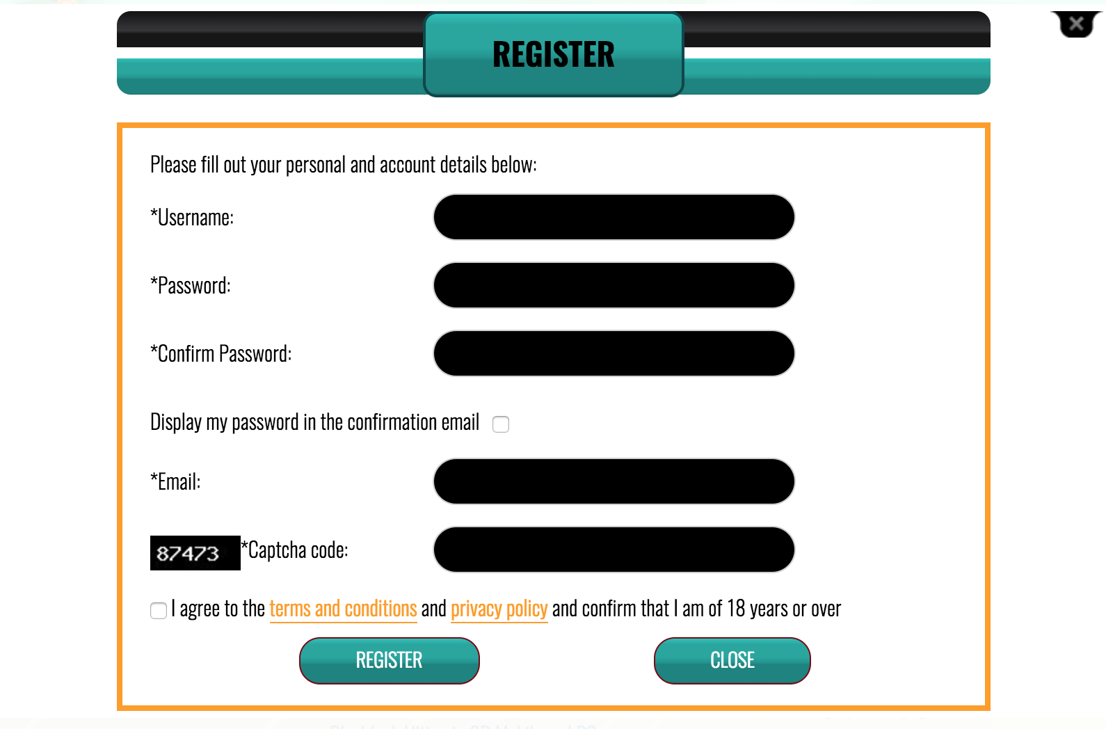 Registration Page at Coin Plaza