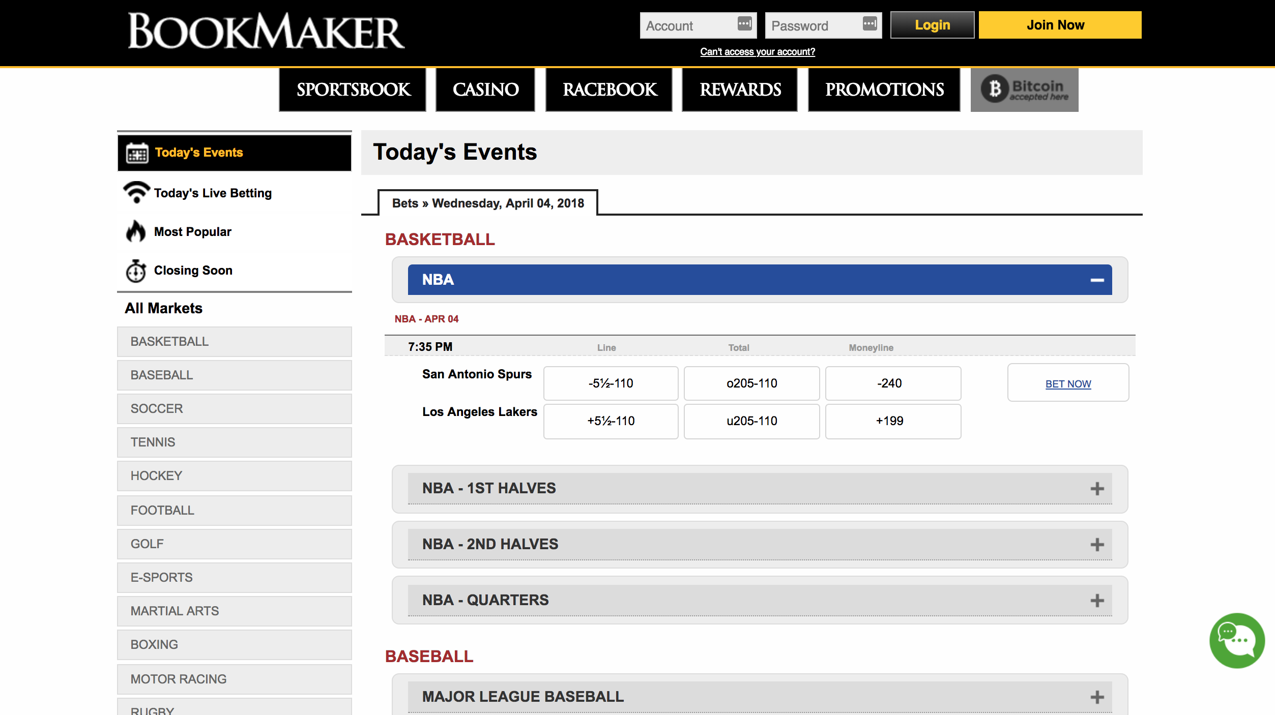 live betting page at bookmaker.eu