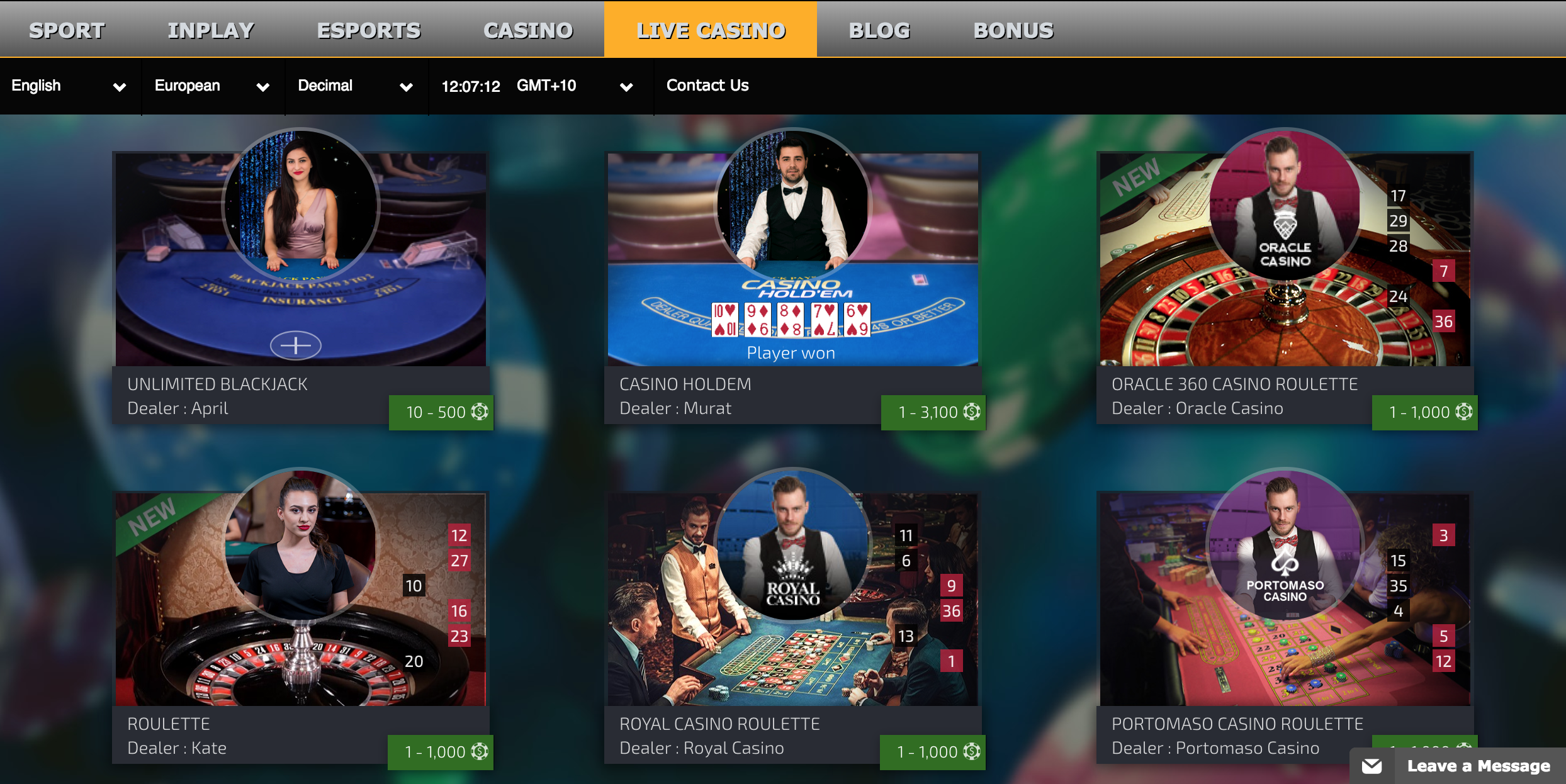 live casino options