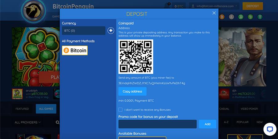 deposit bitcoin penguin