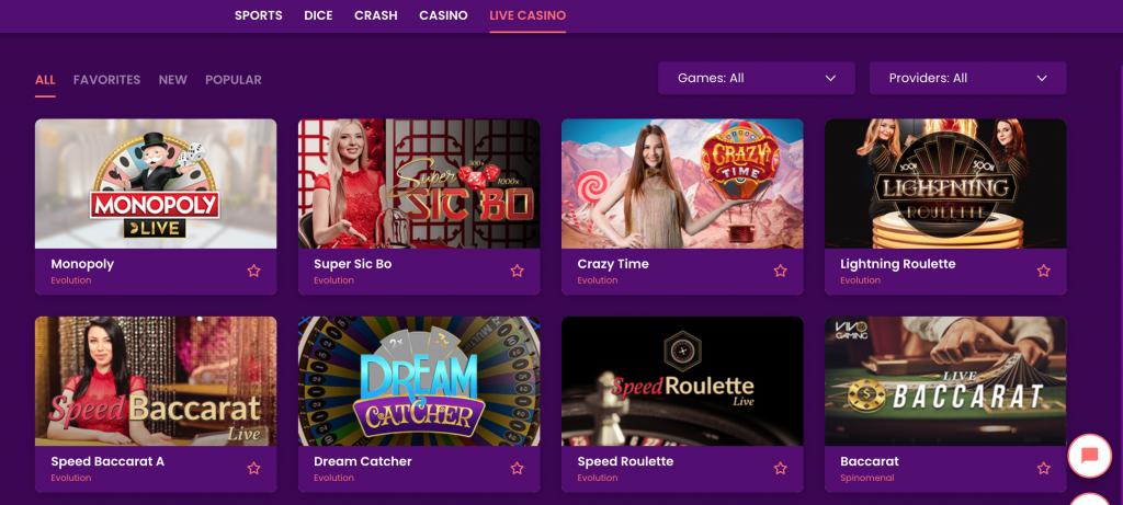 Live Casino games Trust Dice